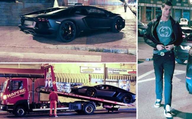El Lamborghini Aventador de Cristiano Ronaldo se queda tirado en pleno centro de Madrid