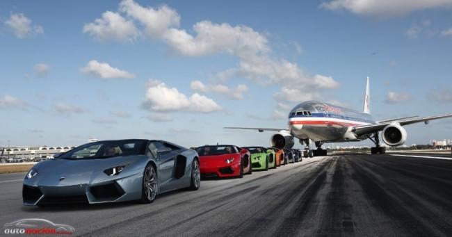 El Lamborghini Aventador Roadster acelera más rápido que un un Boeing 777