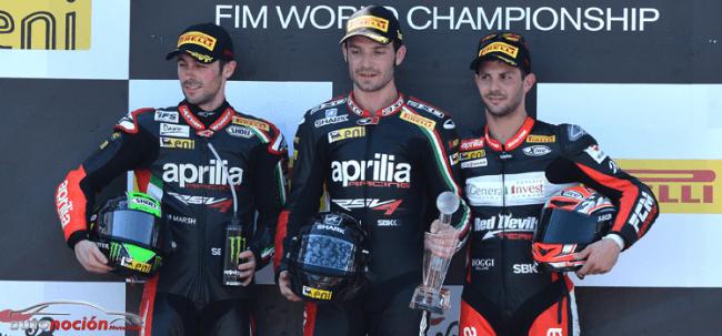 Aprilia monopoliza el podio de la primera carrera con Guintoli en lo más alto