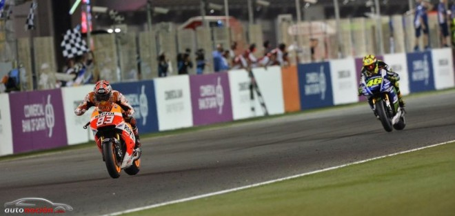 Márquez vence en Losail tras un gran duelo con Rossi