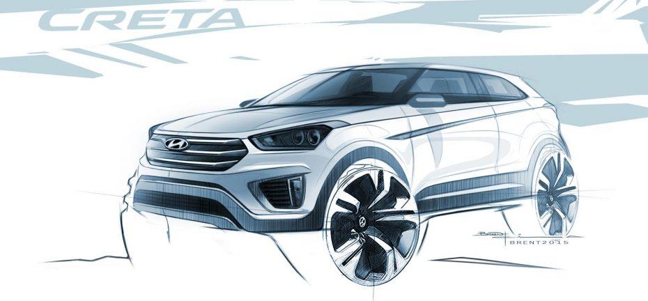 Primeros bocetos del Hyundai Creta: El crossover pequeño va tomando forma