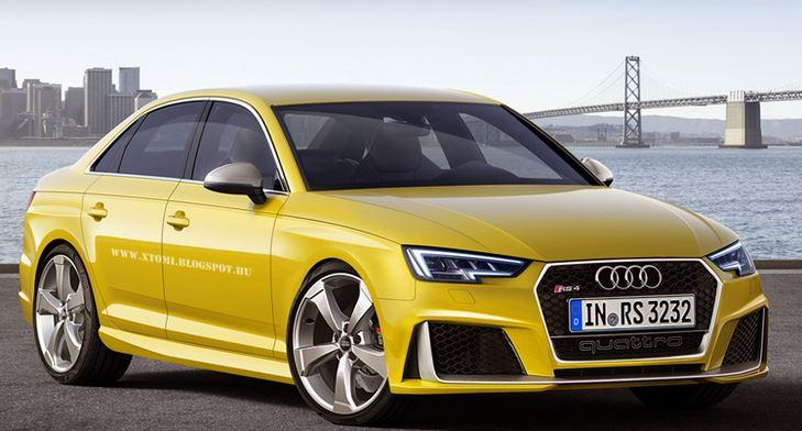 Y ahora los renders del Audi RS4 en berlina y en el polémico amarillo…