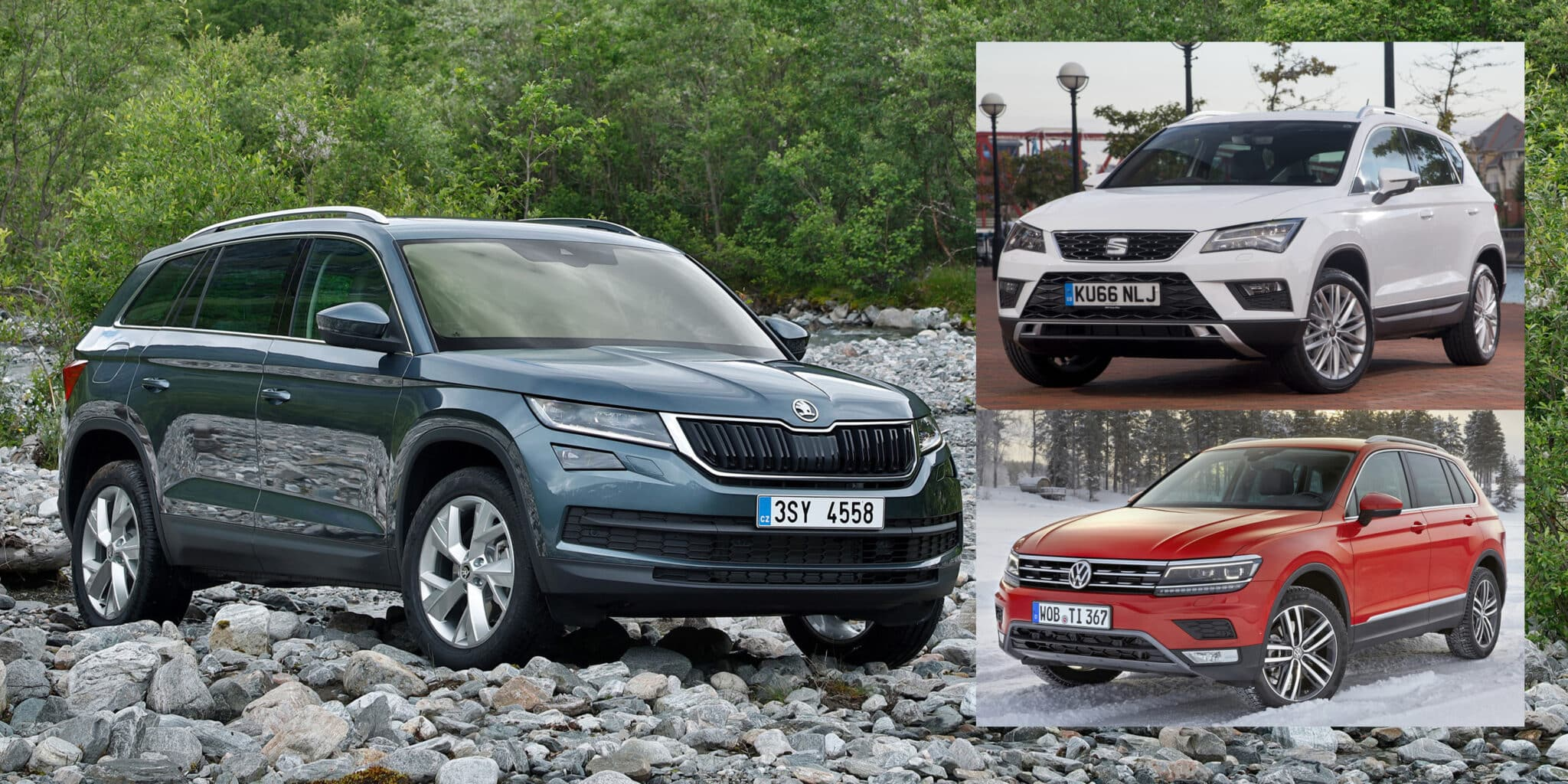 esto es la guerra seat ateca vs skoda kodiaq vs volkswagen tiguan. Black Bedroom Furniture Sets. Home Design Ideas