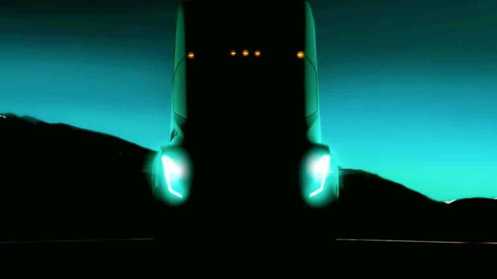 Atento a este 'teaser', es la primera imagen oficial del nuevo camión de Tesla