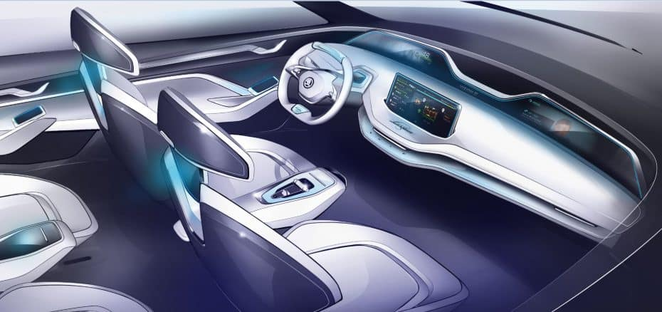Y ahora le toca el turno al interior del VISION E, el «Škoda eléctrico del futuro»