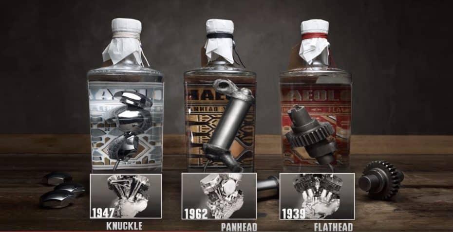 """Si eres un """"quemado"""" de Harley Davidson, atento a lo que llevan estas botellas de ginebra en su interior"""