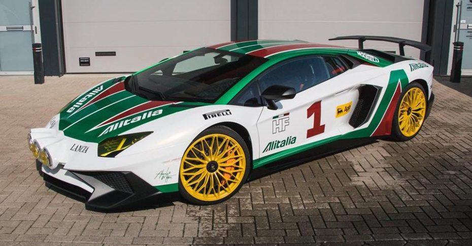 Este Lamborghini Aventador SV se ha teñido con los colores de Alitalia Rally ¡Y no le quedan nada mal!