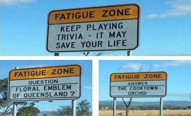 ¿Preguntas del trivial en las señales para no dormirse? ¡Ojo a esta gran idea en Australia!