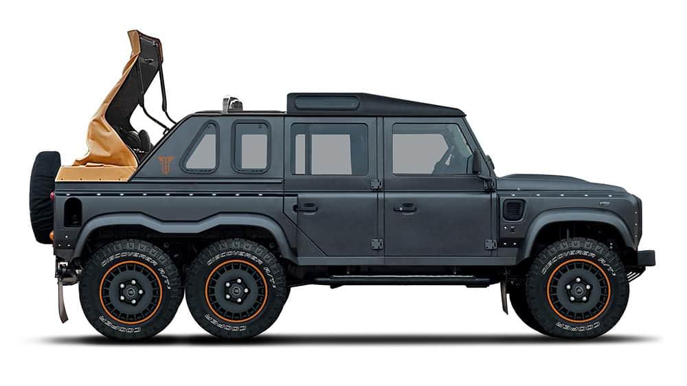 La última locura de Kahn Design: Un Land Rover Defender 'Flying Huntsman' 6×6 descapotable