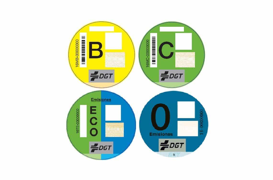 Distintivos de emisiones de la DGT