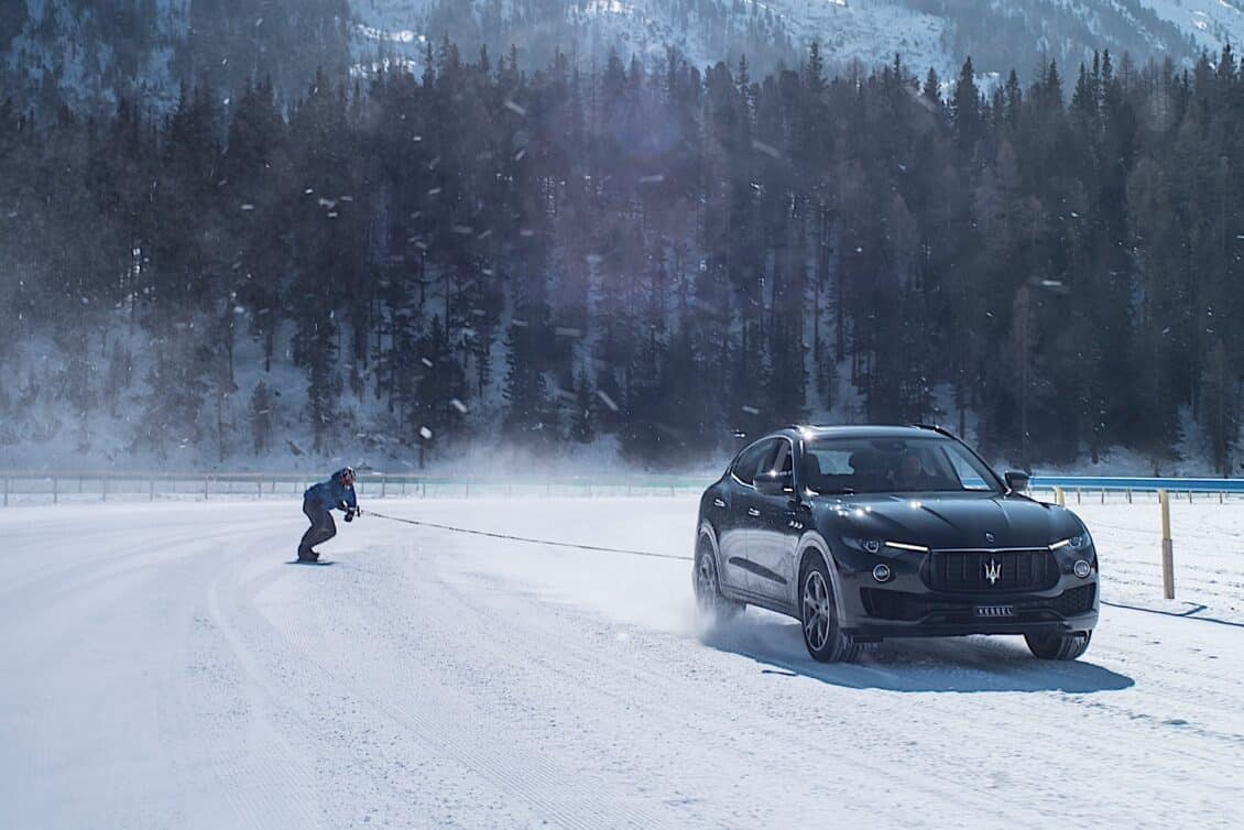 El Maserati Levante ha protagonizado un Guinness World Record… ¡remolcando un snowboard!