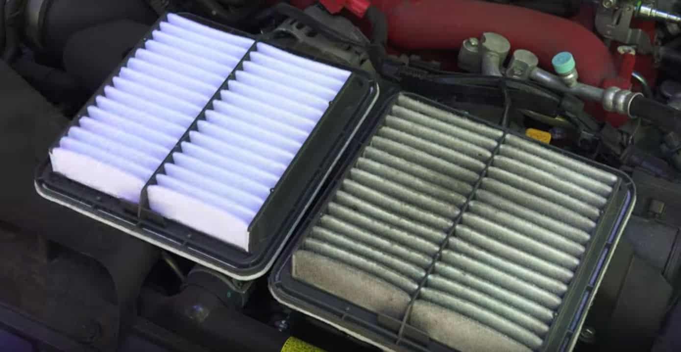 Aquí puedes comparar un filtro de aire limpio y un filtro de aire sucio