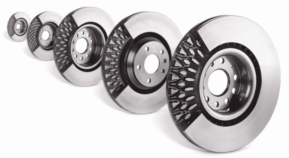 Discos de freno ventilados con canales radiales
