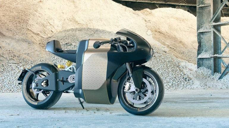 Uma motocicleta elétrica futurista e de alto desempenho, esta é a rua Saroléa Manx 7