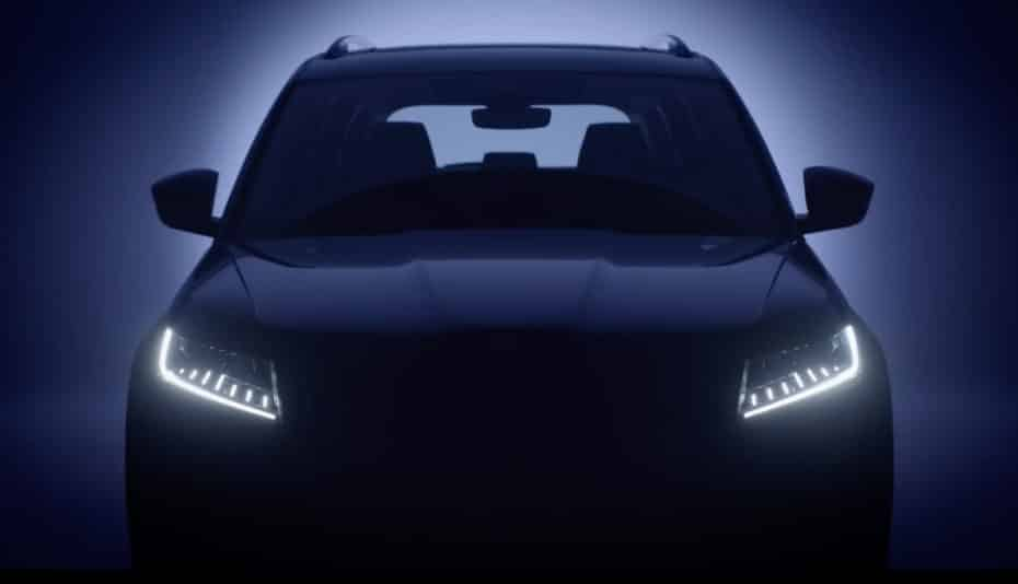 El Skoda Kodiaq RS regresa en este teaser luciendo faros full-LED y un virtual cockpit
