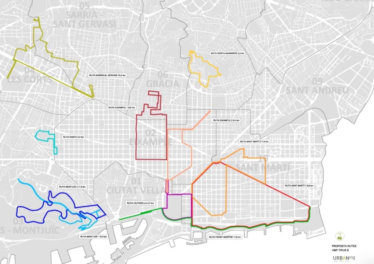 zonas donde circular en patinete en Barcelona