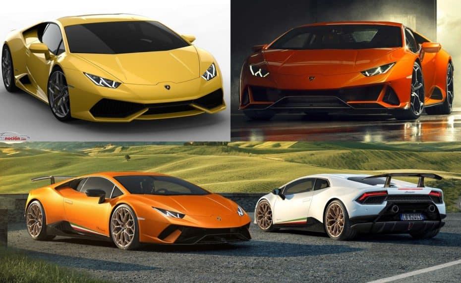 Comparación visual Lamborghini Huracán vs. Huracán Evo vs. Huracán Performante: Tres modelos, una esencia