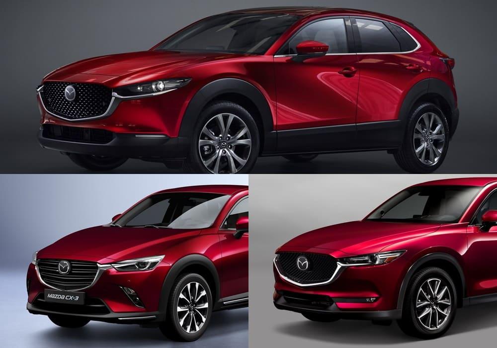 Comparativa visual Mazda CX-3 vs. CX-30 vs. CX-5