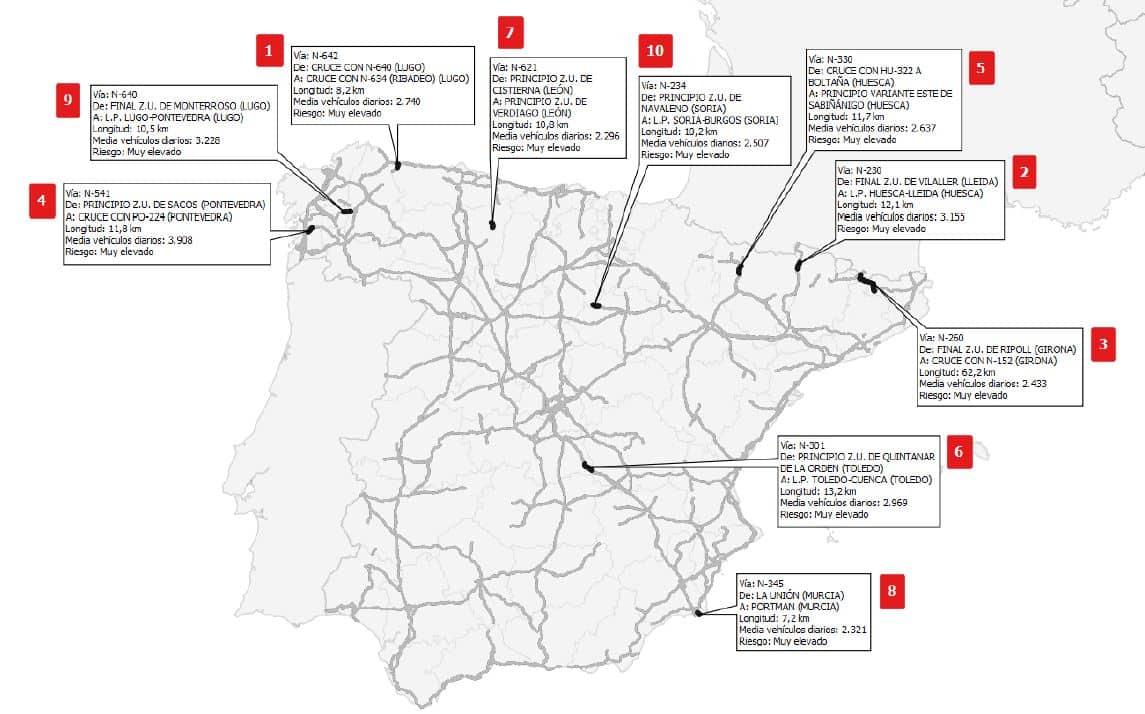 Puntos negros de carreteras en España