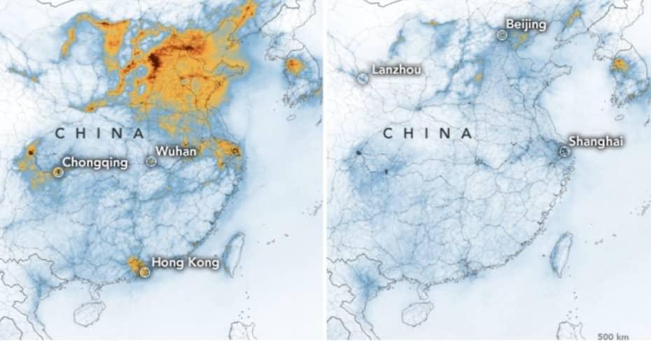 El coronavirus hace que la contaminación se reduzca en China de forma exagerada