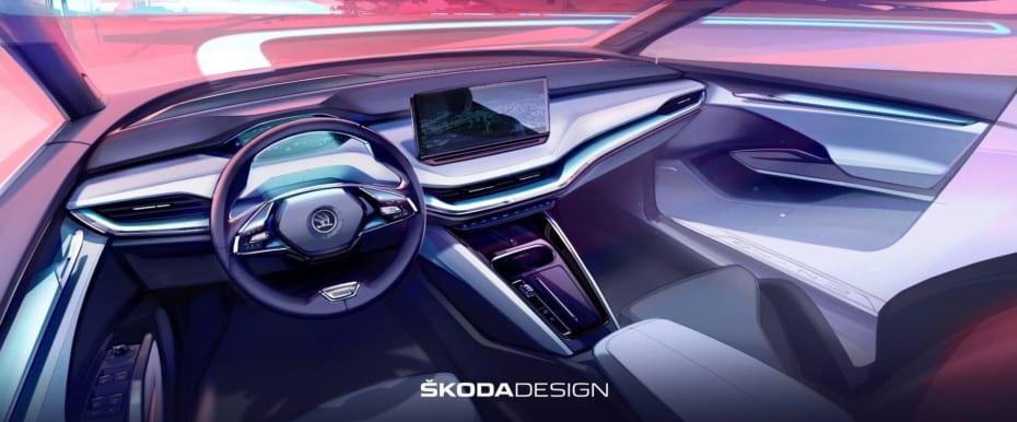 Škoda nos muestra el interior del ENYAQ IV: Nuevas líneas y más espacio que en el Kodiaq