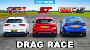 [Vídeo] Ford Focus ST vs. Volkswagen Golf GTI vs. Škoda Octavia RS: ¿Podrán los