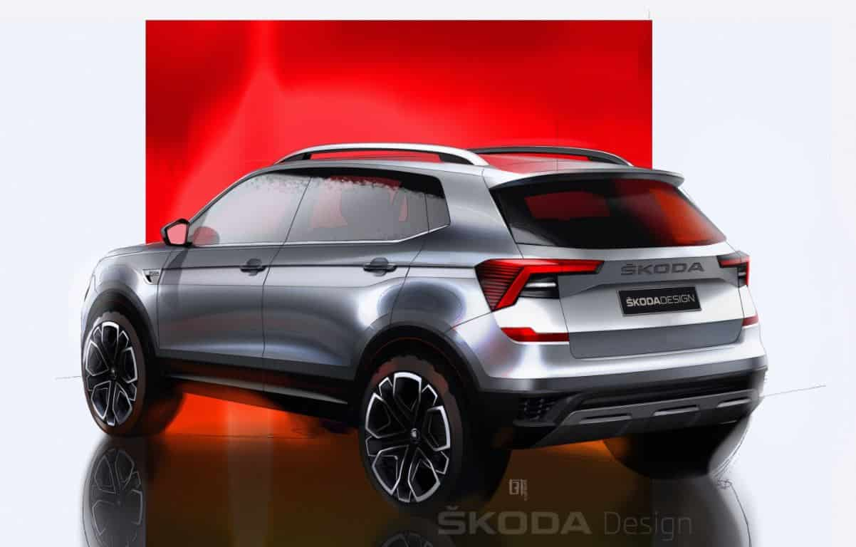 The Škoda KUSHAQ gives the face in sketch form