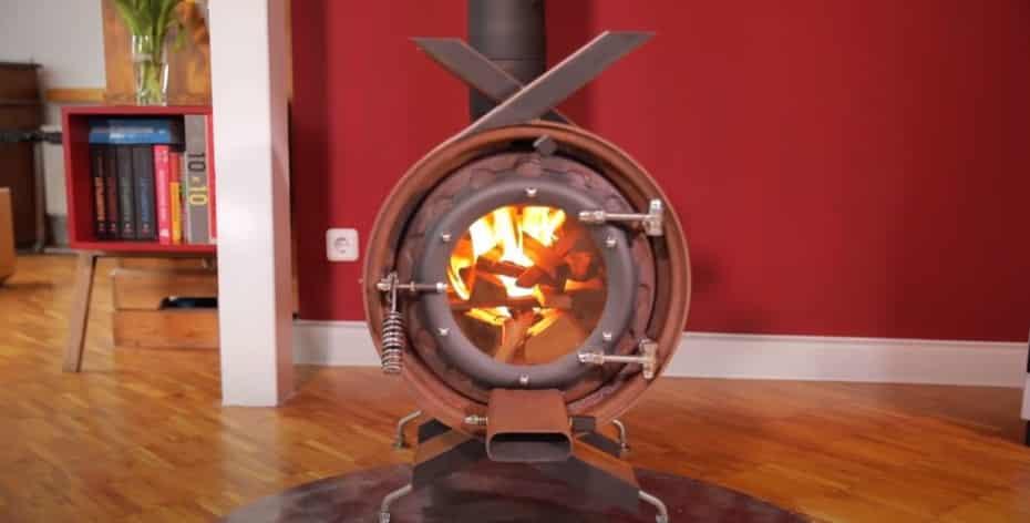 ¿Frío?, ¿qué te parece esta estufa hecha con llantas?