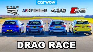 [Vídeo] BMW M135i vs. AMG A35 vs. Audi S3 vs. VW Golf R 2021: ¿Para qué alemán es el trono?
