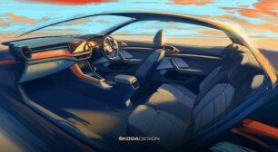El Škoda KUSHAQ nos muestra su juvenil interior en bocetos oficiales