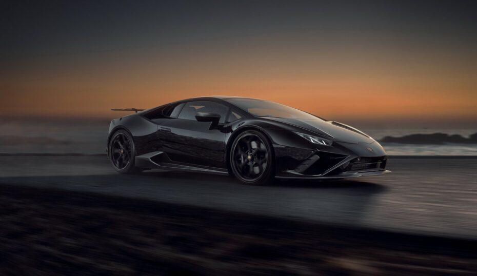 Capó de carbono desnudo y escape bañado en oro para el Lamborghini Huracan EVO RWD