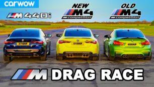[Vídeo] BMW M4 Competition vs. BMW M440i xDrive vs. BMW M4 F82: ¿Apostamos?