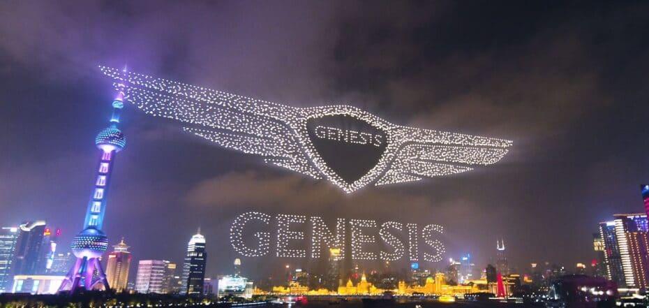 Espectacular presentación de Genesis en China: 3200 drones dibujan el logo de la marca