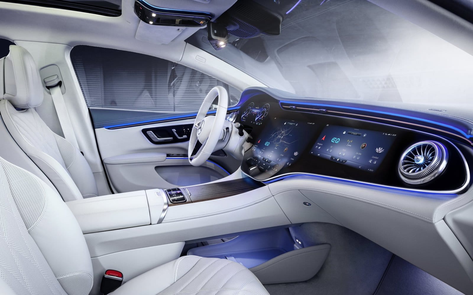 Mercedes EQS interior blanco