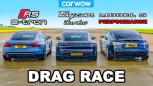 [Vídeo] Audi RS e-tron GT vs. Porsche Taycan vs. Tesla Model S Performance: te vas a sorprender...