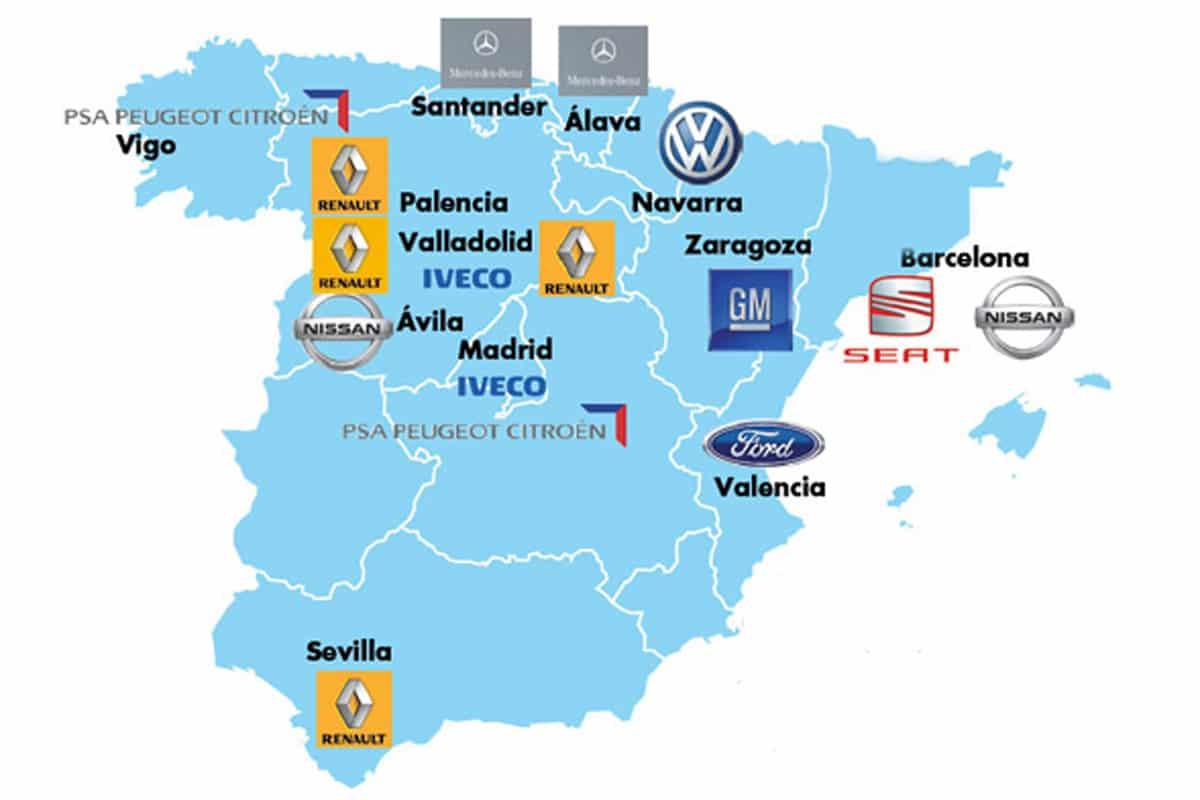 Ubicación de las fábricas de coches en España