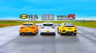 [Vídeo] Volkswagen Golf GTI Clubsport vs. Honda Civic Type R vs. Renault Mégane R.S. Trophy