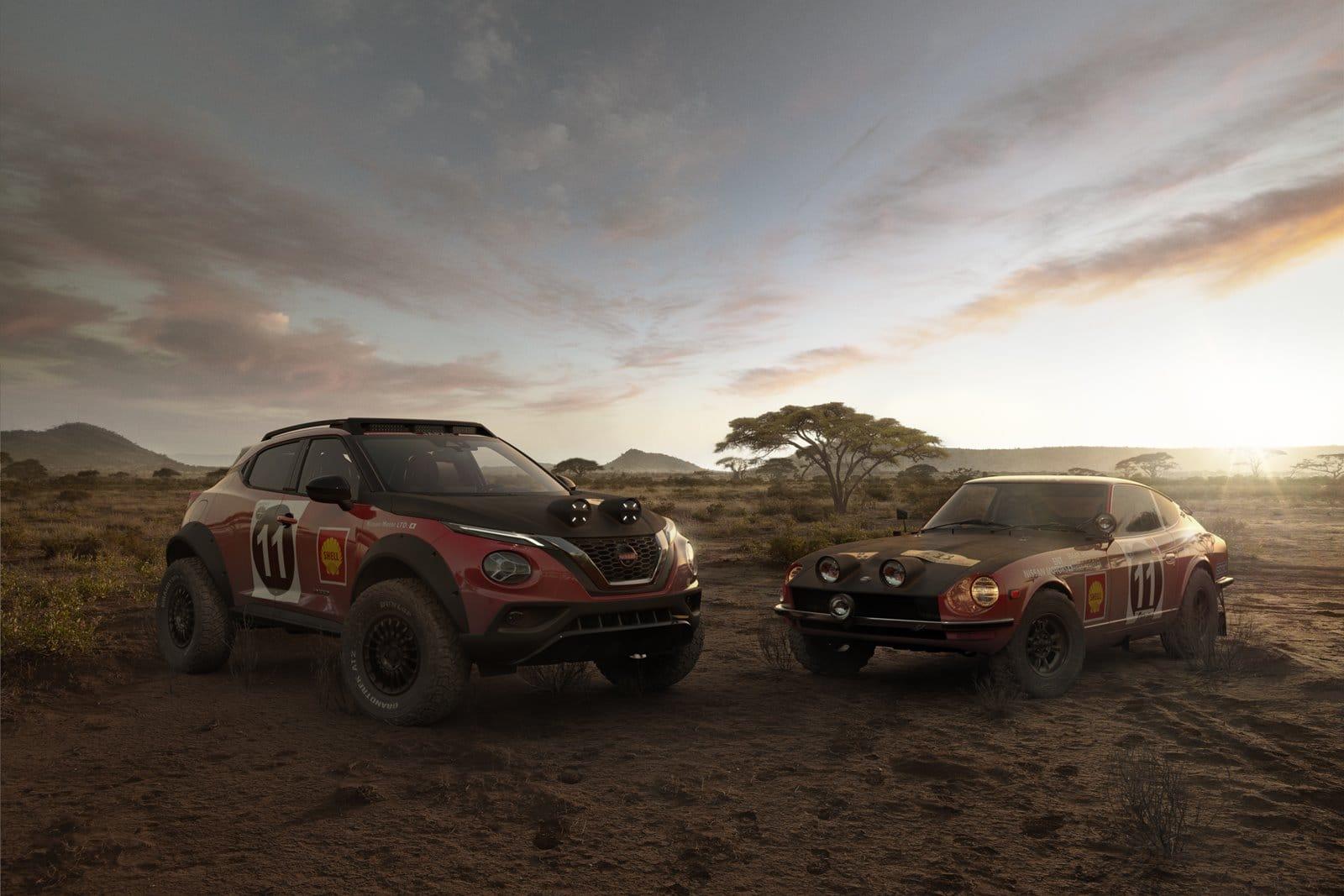 Nissan Juke Rally Tribute Concept junto al 240Z