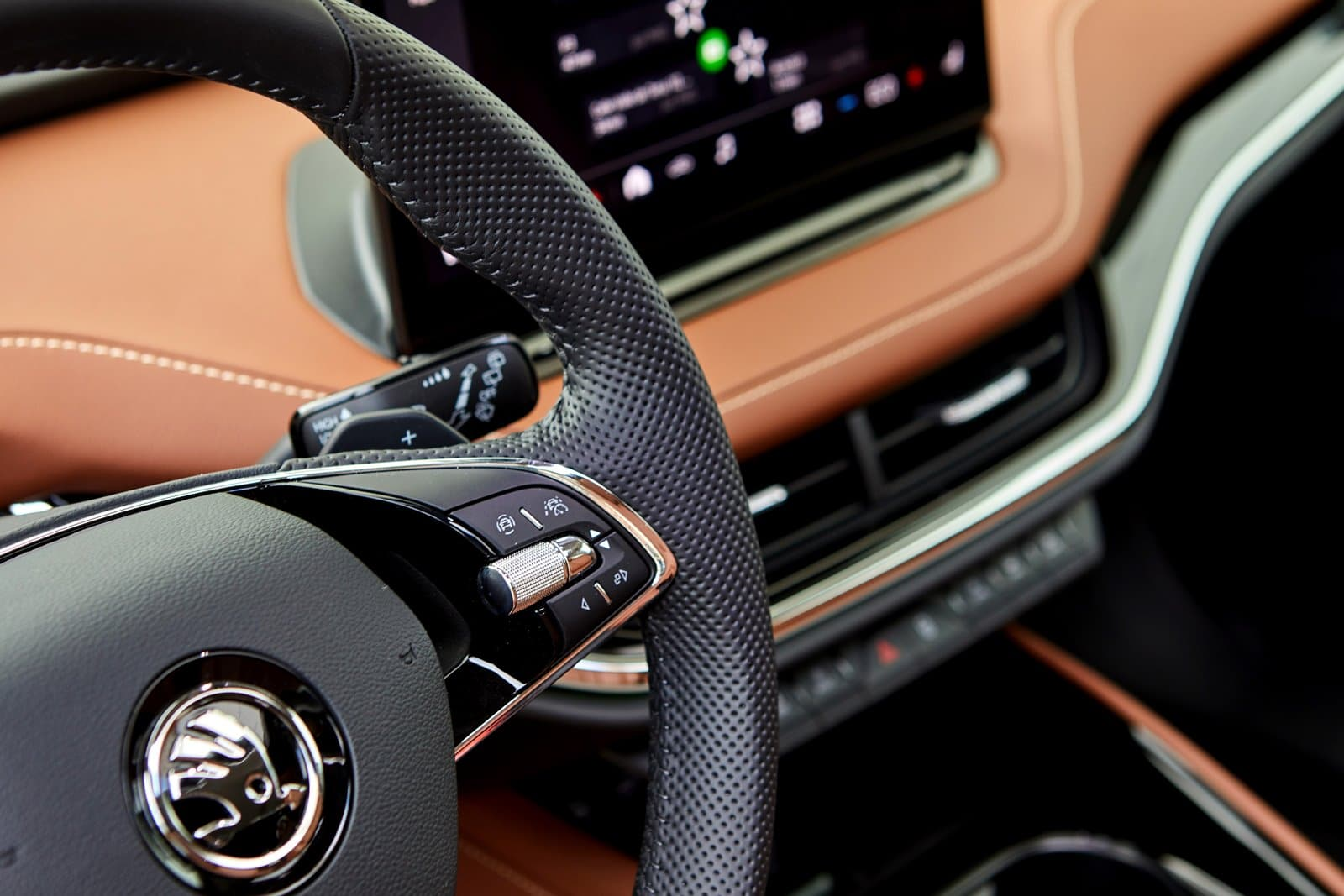Detalle del volante Škoda Enyaq iV 80