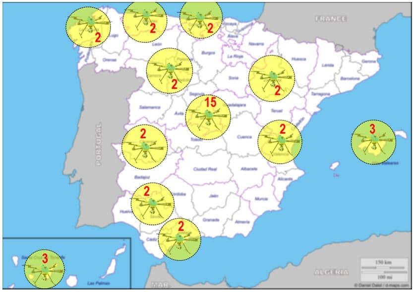 Distribución drones de la DGT