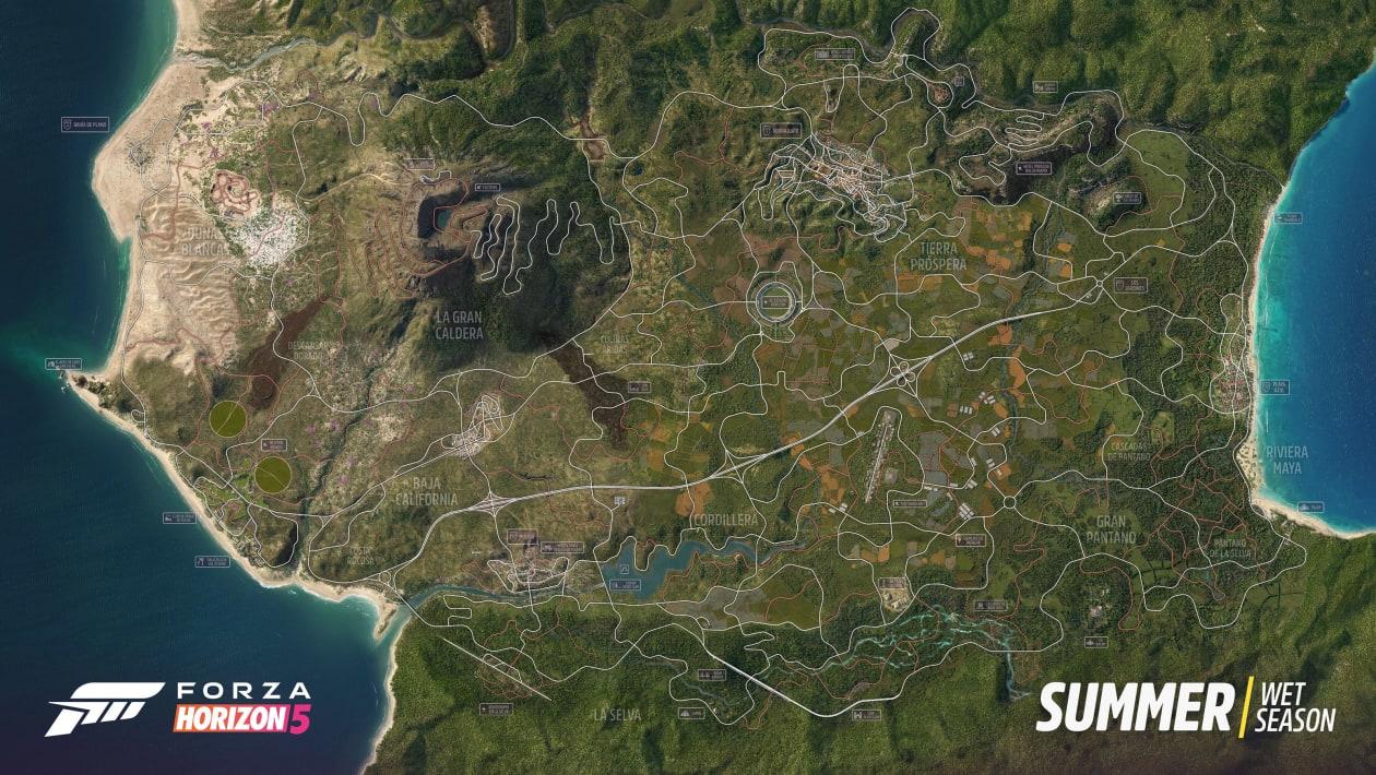 Este es el mapa de Forza Horizon 5 al completo