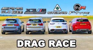 [Vídeo] Stelvio QV vs. X3 M Competition vs. AMG GLC 63 S vs. F-Pace SVR ¿Cuál es el SUV más poderoso?