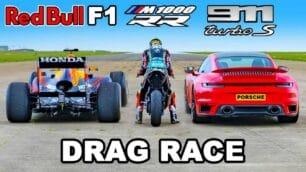 [Vídeo] BMW M 1000 RR vs. Porsche 911 Turbo S vs. F1 Red Bull RB7: ¿Por cuál apuestas?
