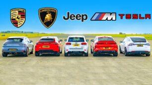 [Vídeo] Urus vs. X6 M Competition vs. Model X vs. Cayenne Turbo GT vs. Grand Cherokee Trackhawk