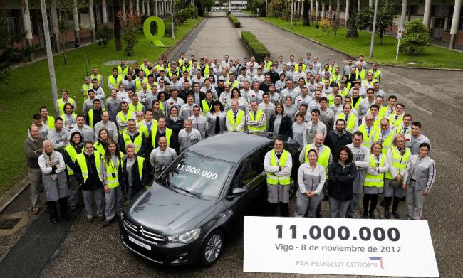 Un C-Elysée, el vehículo 11 millones producido en Vigo